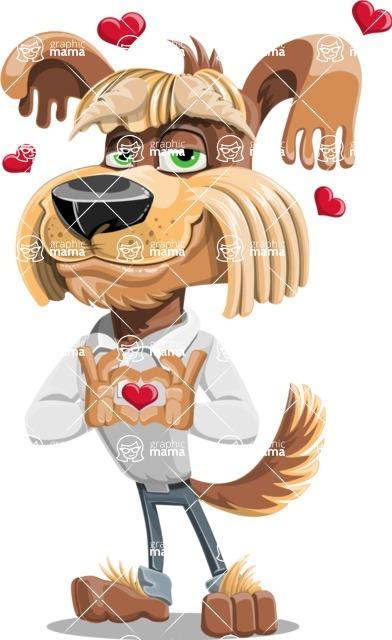 Fluffy Dog Cartoon Vector Character AKA Pinky Funk - Show Love