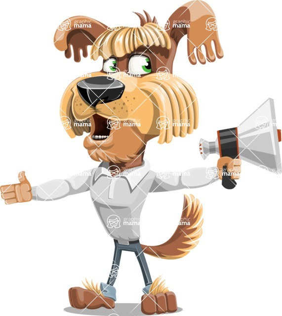 Fluffy Dog Cartoon Vector Character AKA Pinky Funk - Loudspeaker