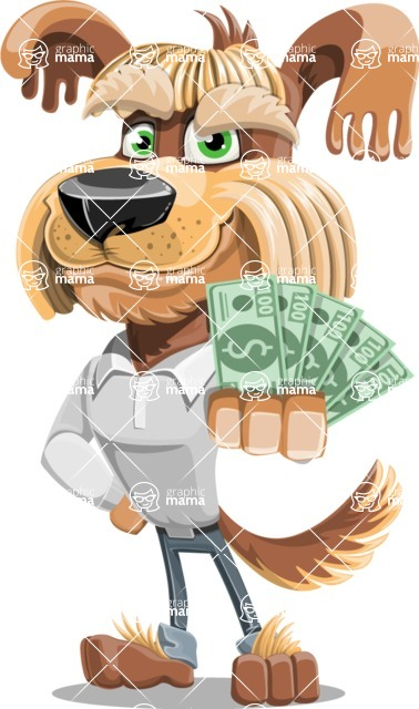 Fluffy Dog Cartoon Vector Character AKA Pinky Funk - Show me the Money