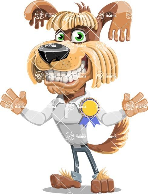 Fluffy Dog Cartoon Vector Character AKA Pinky Funk - Ribbon