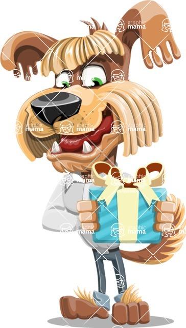 Fluffy Dog Cartoon Vector Character AKA Pinky Funk - Gift