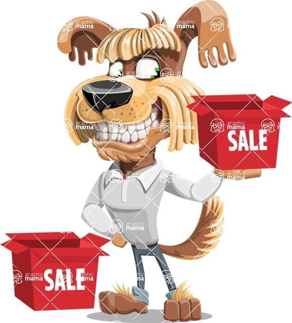 Fluffy Dog Cartoon Vector Character AKA Pinky Funk - Sale