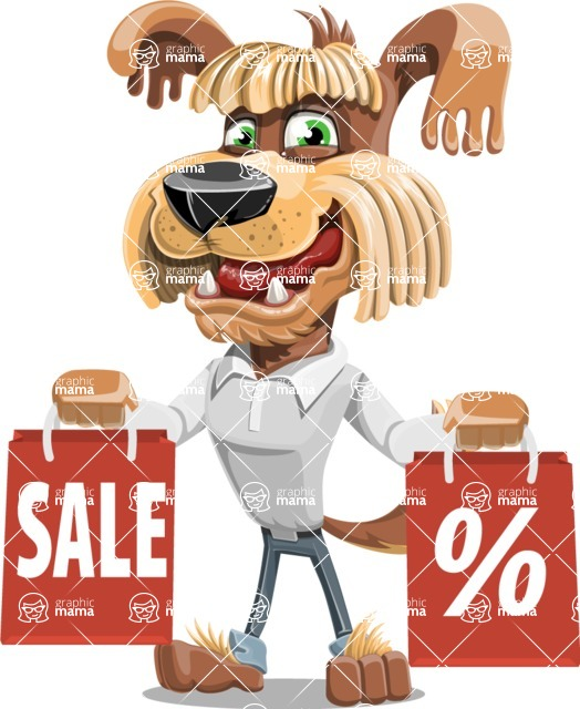 Fluffy Dog Cartoon Vector Character AKA Pinky Funk - Sale 2