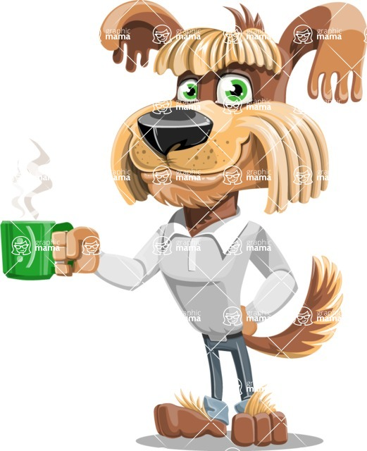 Fluffy Dog Cartoon Vector Character AKA Pinky Funk - Coffee