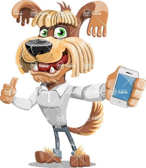 Fluffy Dog Cartoon Vector Character AKA Pinky Funk - iPhone