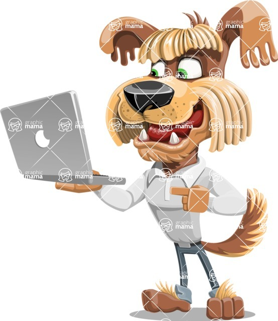 Fluffy Dog Cartoon Vector Character AKA Pinky Funk - Laptop 1