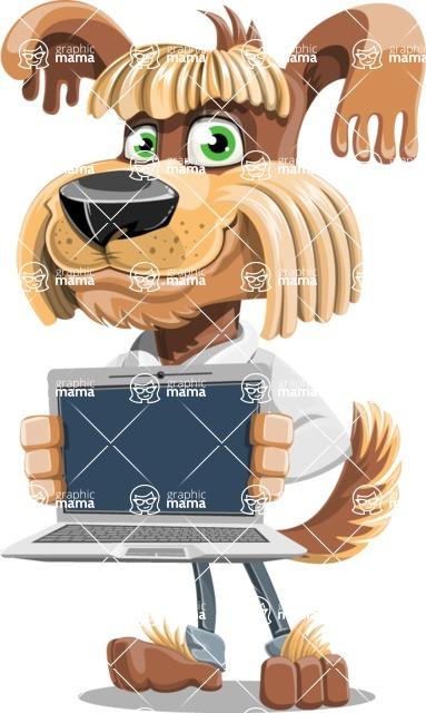 Fluffy Dog Cartoon Vector Character AKA Pinky Funk - Laptop 2