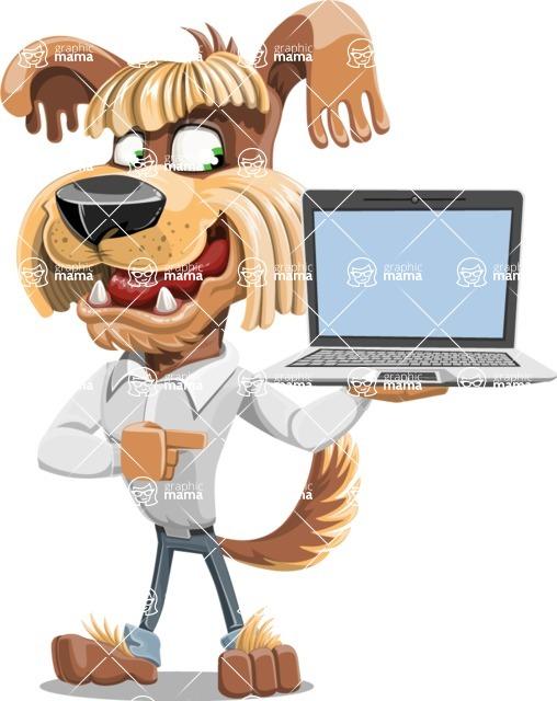 Fluffy Dog Cartoon Vector Character AKA Pinky Funk - Laptop 3