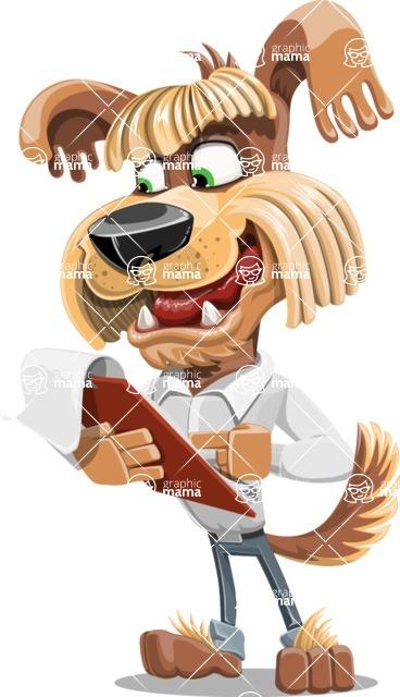 Fluffy Dog Cartoon Vector Character AKA Pinky Funk - Notepad 3