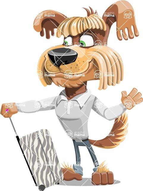 Fluffy Dog Cartoon Vector Character AKA Pinky Funk - Travel 1