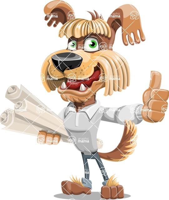 Fluffy Dog Cartoon Vector Character AKA Pinky Funk - Plans