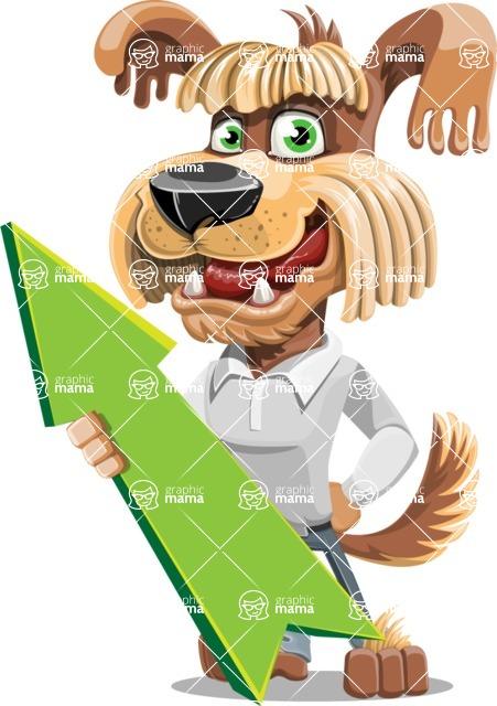 Fluffy Dog Cartoon Vector Character AKA Pinky Funk - Pointer 1