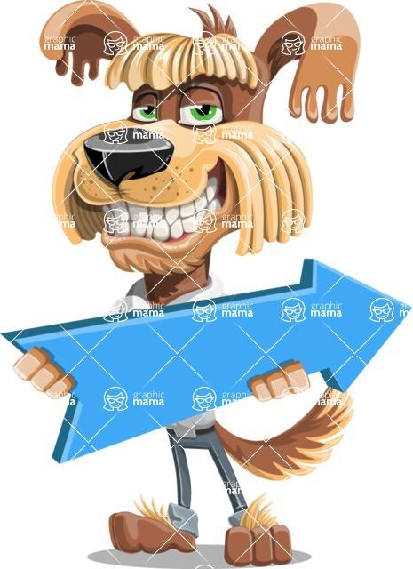 Fluffy Dog Cartoon Vector Character AKA Pinky Funk - Pointer 2