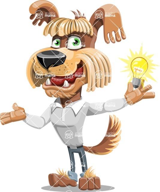 Fluffy Dog Cartoon Vector Character AKA Pinky Funk - Idea 1