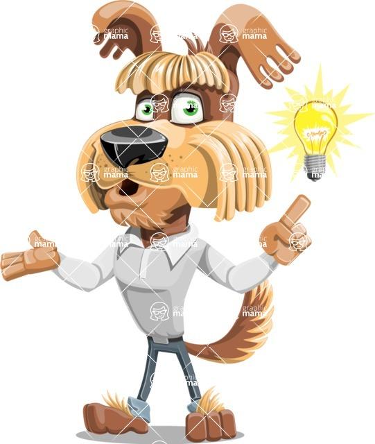 Fluffy Dog Cartoon Vector Character AKA Pinky Funk - Idea 2