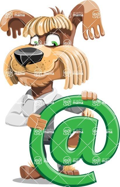 Fluffy Dog Cartoon Vector Character AKA Pinky Funk - Email