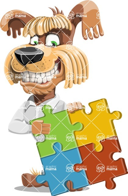 Fluffy Dog Cartoon Vector Character AKA Pinky Funk - Puzzle