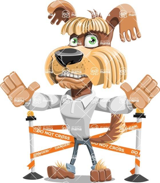 Fluffy Dog Cartoon Vector Character AKA Pinky Funk - Under Construction 2