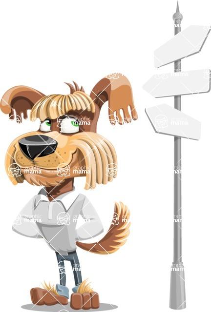 Fluffy Dog Cartoon Vector Character AKA Pinky Funk - Crossroad