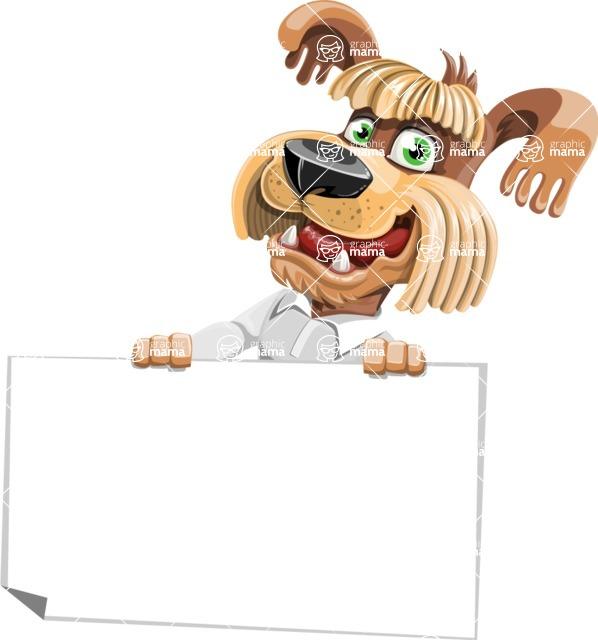 Fluffy Dog Cartoon Vector Character AKA Pinky Funk - Sign 4