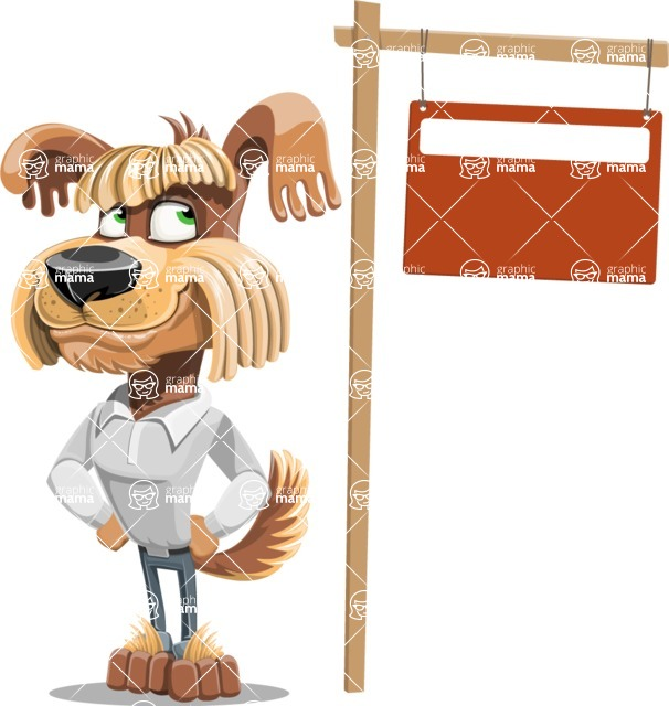 Fluffy Dog Cartoon Vector Character AKA Pinky Funk - Sign 9