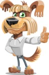 Fluffy Dog Cartoon Vector Character AKA Pinky Funk - Thumbs Up