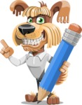 Fluffy Dog Cartoon Vector Character AKA Pinky Funk - Pencil