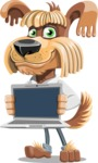 Fluffy Dog Cartoon Vector Character AKA Pinky Funk - Laptop 2