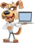 Fluffy Dog Cartoon Vector Character AKA Pinky Funk - Laptop 3