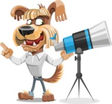 Fluffy Dog Cartoon Vector Character AKA Pinky Funk - Telescope