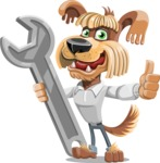 Fluffy Dog Cartoon Vector Character AKA Pinky Funk - Repair