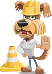 Fluffy Dog Cartoon Vector Character AKA Pinky Funk - Under Construction 1