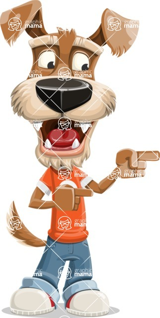 Dressed Dog Cartoon Vector Character AKA Sparky Jones - Point 2