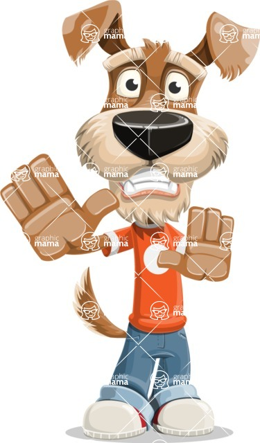 Dressed Dog Cartoon Vector Character AKA Sparky Jones - Stop 2