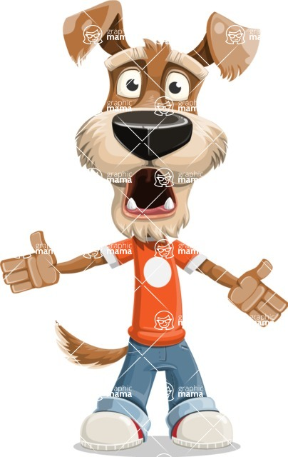 Dressed Dog Cartoon Vector Character AKA Sparky Jones - Stunned