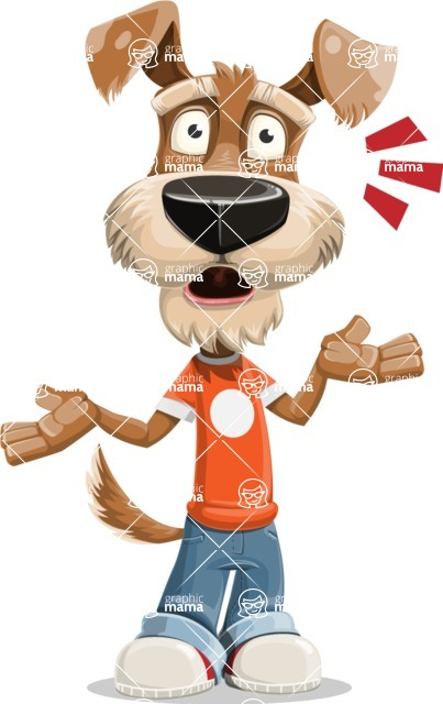 Dressed Dog Cartoon Vector Character AKA Sparky Jones - Shocked