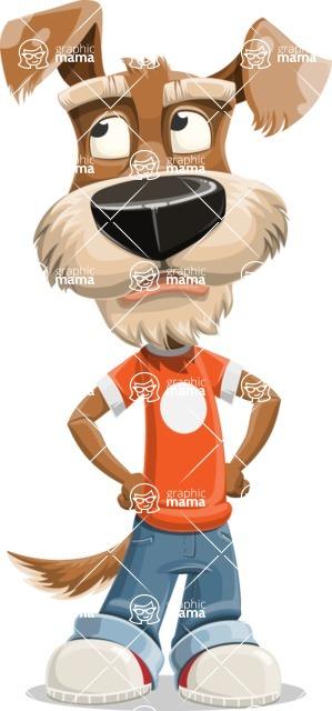 Dressed Dog Cartoon Vector Character AKA Sparky Jones - Roll Eyes