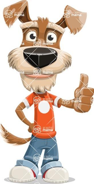 Dressed Dog Cartoon Vector Character AKA Sparky Jones - Thumbs Up