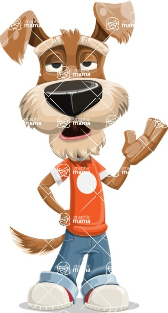 Dressed Dog Cartoon Vector Character AKA Sparky Jones - Bored 2