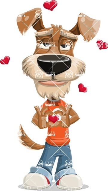 Dressed Dog Cartoon Vector Character AKA Sparky Jones - Show Love