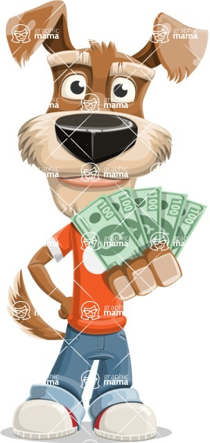 Dressed Dog Cartoon Vector Character AKA Sparky Jones - Show me the Money