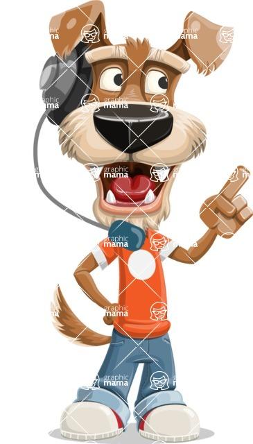 Dressed Dog Cartoon Vector Character AKA Sparky Jones - Support 2