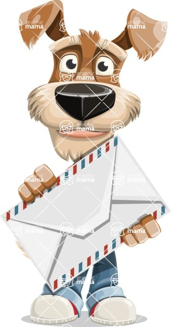 Dressed Dog Cartoon Vector Character AKA Sparky Jones - Letter