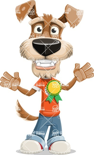 Dressed Dog Cartoon Vector Character AKA Sparky Jones - Ribbon