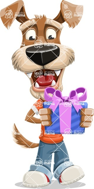 Dressed Dog Cartoon Vector Character AKA Sparky Jones - Gift