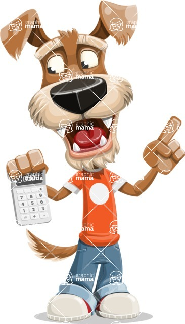 Dressed Dog Cartoon Vector Character AKA Sparky Jones - Calculator