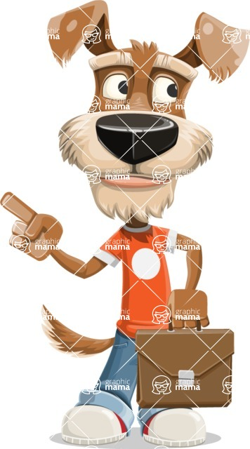 Dressed Dog Cartoon Vector Character AKA Sparky Jones - Briefcase 2