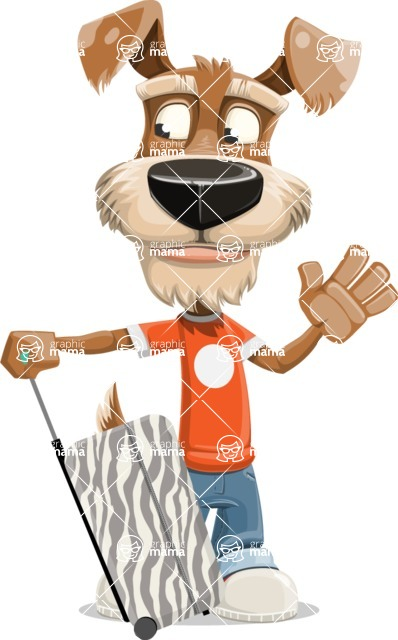 Dressed Dog Cartoon Vector Character AKA Sparky Jones - Travel 1