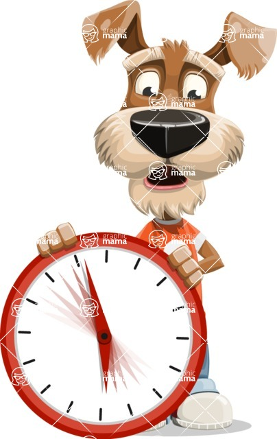Dressed Dog Cartoon Vector Character AKA Sparky Jones - Time is Yours