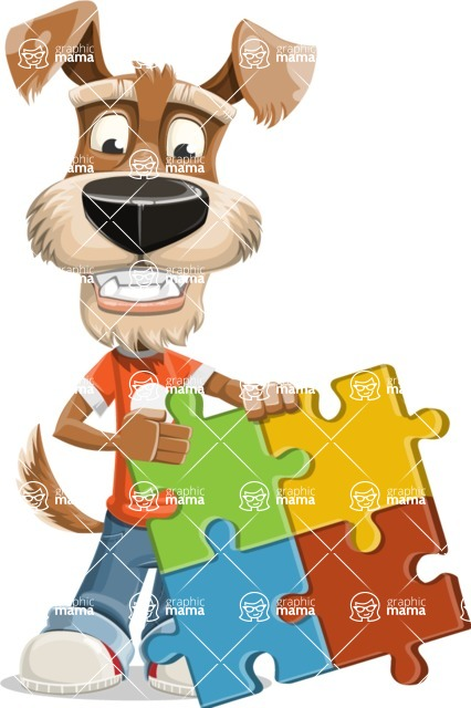 Dressed Dog Cartoon Vector Character AKA Sparky Jones - Puzzle